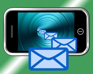 Email Envelopes On Mobile Screen Showing Emailing Or Contacting